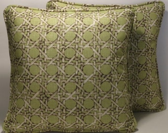 "Green DecorativeThrow Pillows, 2 18"" Designer Throw Pillows Braemore Geometric Lattice Green Brown Cream Cotton Fabric with Forms Home Decor"