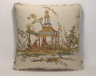 """Asian Toile Decorative Throw Pillow, Chinoiserie,1 18"""" Asian Toile Ceremony Honey Valdese & Form,Designer Decorative Throw Pillow,Home Decor"""