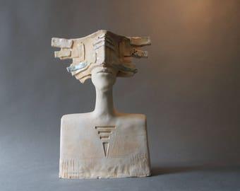 Ceramic Sculpture, Art Object, A man's Bust, Ceramic Art, Fine Art Ceramic, Unique Clay Sculpture, Handmade Sculpture, Ceramic, Pottery,