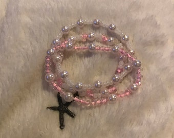 Pink Pearl Starfish Charm Bracelet