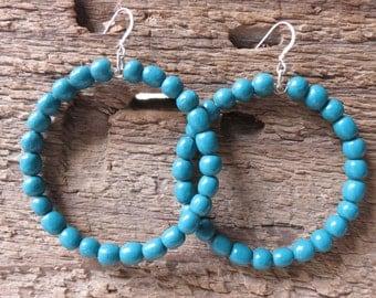 beaded hoop earrings - Teal - painted beads - Large beaded hoops - boho hoop earrings - blue earrings - large hoops - blue beaded hoops