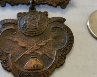 1912 Detroit Michigan Metal Press Pass Pin