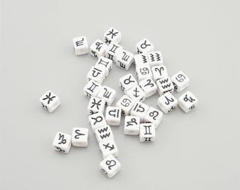 100pcs 7x7mm Mixed White Cube 12 Zodiac Signs Acrylic Beads, Big Hole Beads YK010