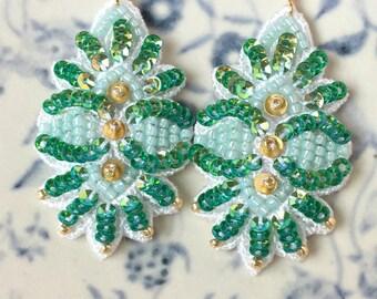 Emerald Rainbow Leaf Embroidery Earrings, Lace Earrings