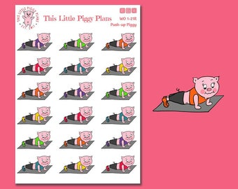 Oinkers Does Push-ups - workout planner stickers - arm day - gym stickers - fitness stickers - [WO 1-21R]