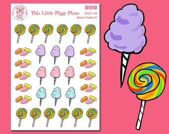 Carnival Treats Planner Stickers - Cotton Candy - Lollipops - Circus Peanuts - Junk Food Stickers - Planner Stickers - Sweets - [Food 1-02]