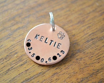 Custom stamped small dog tag