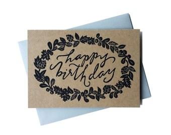 Greeting Card - Happy Birthday Wreath