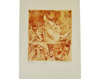 "1950 Samuel G. Cahan Etching ""Atonement"" Pencil Signed Artist Proof - One of only 5"