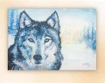 """Spirit Wolf 9""""x12"""" Canvas Print"""