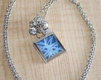 Sun Print Cyanotype Square Window Necklace - Pine Needles