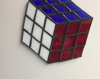 Rubik's Cube - Stained Glass Suncatcher