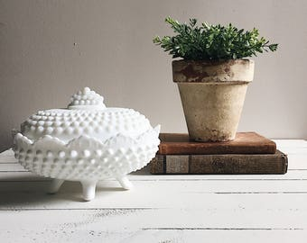 Vintage hobnail milk glass trinket jar | home decor | white
