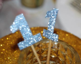 Glitter Blue number one cupcake toppers