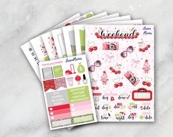 Red Cherries Planner Sticker Kit 7 & 1/2 Sheets Erin Condren / Planner Stikers / Life planner / Happy Planner / Dream Planner