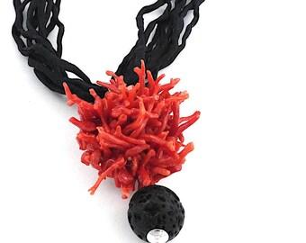 coral necklace,coral,lava stone