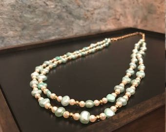 Light Teal Cultured Freshwater Pearl Necklace