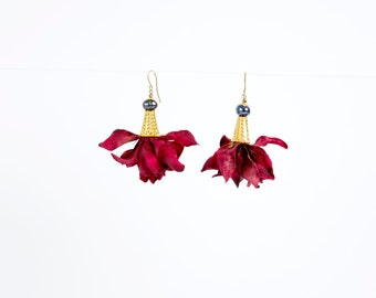 Petal Earrings in Deep Red