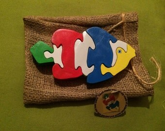 wooden puzzle fish