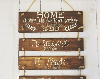 Home is where the military sends us sign, military home sign, airforce sign, marines sign, navy sign, army sign, military bases sign