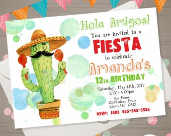 Mexico Invitation Etsy - Birthday party invitation in spanish