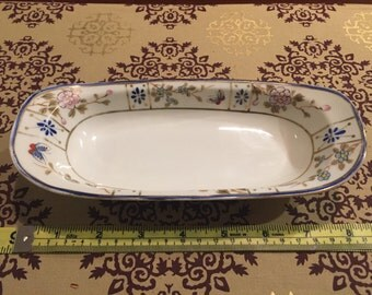 Beautiful vintage Nippon handpainted fine china dish with floral and gold motif