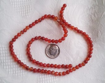 Red Agate Beads, Small Round Red Agate Beads, Shiny Red Agate Beads, 4-5mm Red Agate Beads,   Full 15 inch Strand