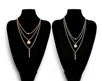 layered adn long, Lay  Necklace,Set of 3 strands, silver/Gold Hammered Disc, CZ Crystal ,vertical bar,Girl Gift,birthday gift, multi-strand