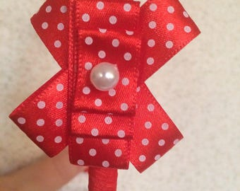 Fernandez with red polka dot bow and tulle Ribbon