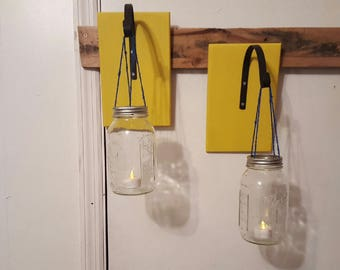 Recycled Mason Jar Hanging Candle Holders