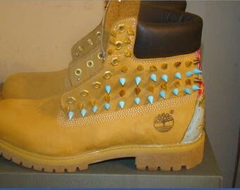 Light Blue Floral Print Gold Spike Studded Timberland Boots with Fabric In Back