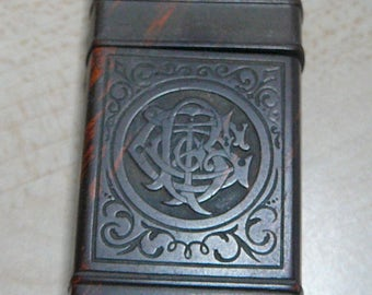 Antique Match Safe Gutta Percha Early 20th Century