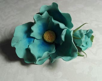 Hairpin hair gift for mom napprice wedding flower blue polymer clay poppy handmade