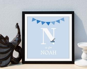 Personalised Baby Nursery Initial Letter Boy Framed Print