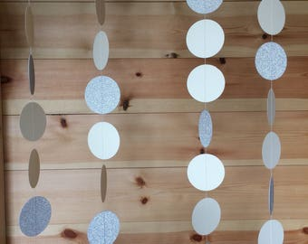 Ivory and Silver Circle Garland, Decor, Weddings, Party Decor, Celebrations,