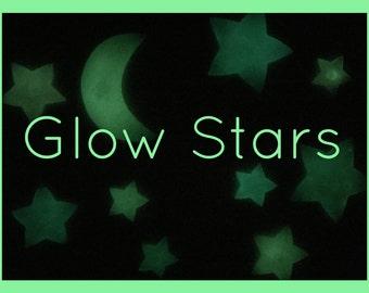 10 Rainbow Glitter Glow Stars + Moon