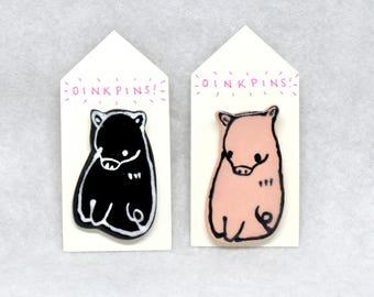 BunPins / OinkPins / FoxyPins / ElePins - Ceramic Animal Pins