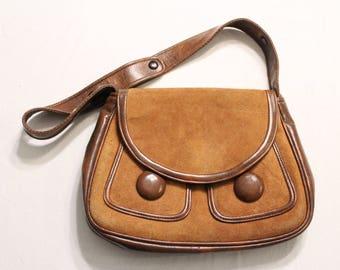 Rare Vintage Roger Von S Handbag Brown Suede/Leather Handbag