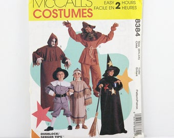 McCalls Pattern 8334 Children's Halloween Costumes, Size 2/4, 5/6, Easy Costume Sewing Patterns, Witch, Ghoul, Indian, Scarecrow, Pilgrim