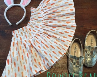 Carrot Print Girls Twirly Skirt - Easter Outfit - Summer Skirt - Circle Skirt - Girls Skirt 2 years - 10 Years.