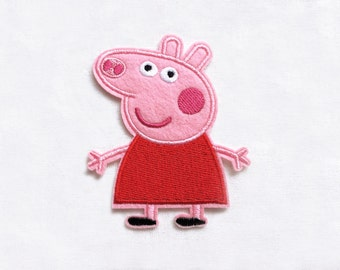 1x PEPPA PIG patch custom Iron On Embroidered Applique cartoon pink red fun kid