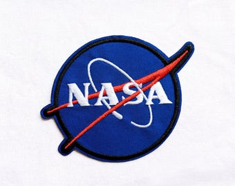 1x NASA patch blue custom Iron On Embroidered Applique Space Astronaut Science