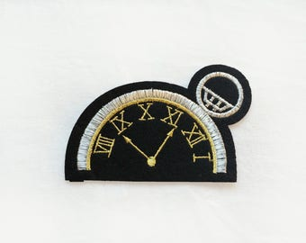 1x antique steampunk pocket watch clock patch Iron On  embroidered Applique black gold silver custom your jacket time machine