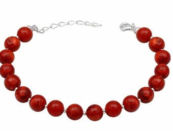 Good luck energy positive peace serenity amulet bracelet genuine red Coral and sterling silver natural gems semi precious stones