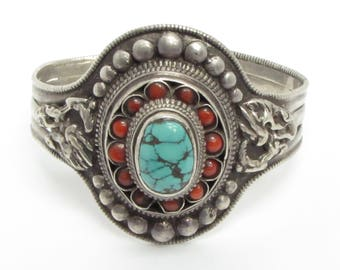 Unique 925 Sterling Silver Vintage Antique Turquoise & Coral Beaded Cuff Bracelet - B046 (!!!OFFERS ACCEPTED!!!)