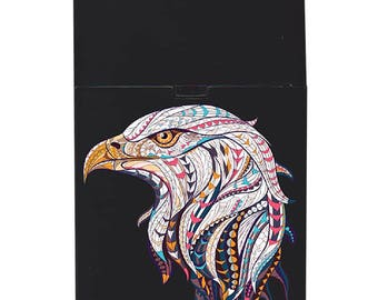 Handmade custom plastic cigarette case box with personalized stylish pattern any text message chic logo eagle animals elegant vintage design