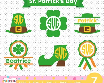 St. Patricks Day #1 monogram SVG, Saint Patricks Silhouette Studio, St. Patricks Day SVG Files