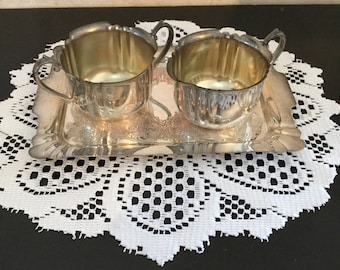 Vintage Silverplated Cream and Sugar with Tray Set by WM.A. Rogers