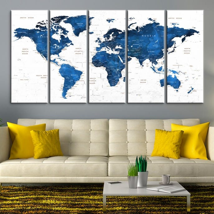 Large wall art world map canvas print navy blue world map push large wall art world map canvas print navy blue world map push pin wall art custom world map canvas print personalized world map wall art gumiabroncs Image collections