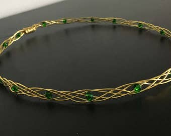 Brave. Celtic Knot. Emerald and Gold Crown